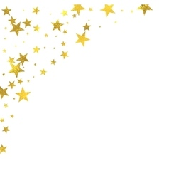 Gold glittering foil stars on white background vector image