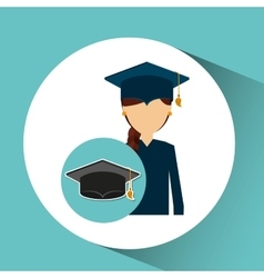 Graduate student girl cap icon vector