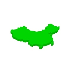 Green map of China icon isometric 3d style vector