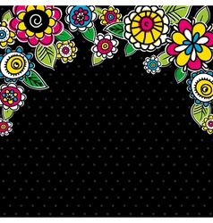 hand draw flowers on black background vector image