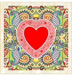 Hand draw ornate valentin day card with heart vector