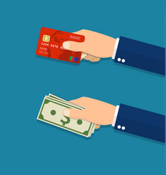 Hands holding credit card and money bills vector