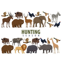 hunting banner with wild animals and birds vector image