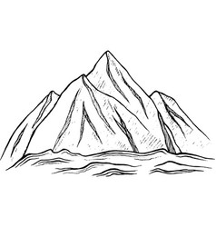 ink mountain - graphic drawing vector image