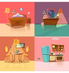 Interior retro set vector