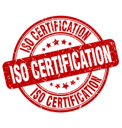 Iso certification red grunge stamp vector