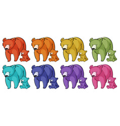 Isolated set grizzly bears in many colors vector