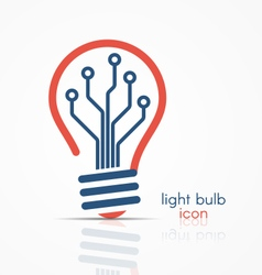 light bulb idea icon with circuit board inside vector image