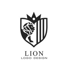 lion logo design element for poster banner vector image