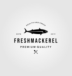 mackerel fish logo hipster vintage label emblem vector image