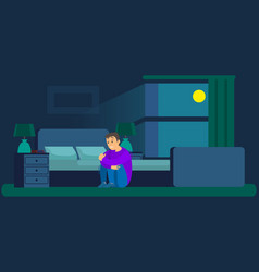 Man worried with insomnia or nightmare sits vector