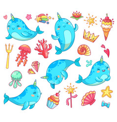 Marine kawaii baby unicorn narwhal swimming blue vector