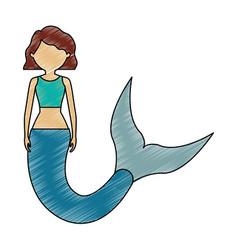 mermaid with wavy hair vector image