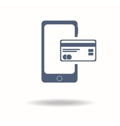 Mobile phone with credit card icon payments vector