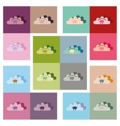 Modern flat icons collection dumplings with vector