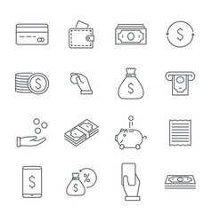 money icons set line icons coins cash back line vector image