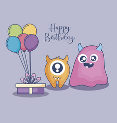 Monsters with balloons helium and gift birthday vector