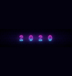 new year 2020 neon sign long banner vector image