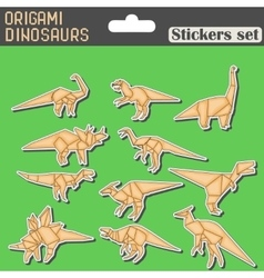 origami dinosaurs stickers set vector image