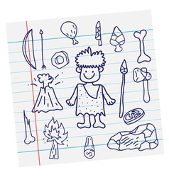 outline image Stone age cartoon vector image