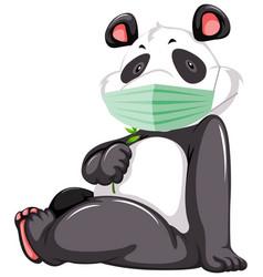 panda cartoon character wearing mask vector image