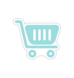 paper sticker on white background cart vector image