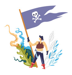 pirate people in piracy scary man with flag vector image