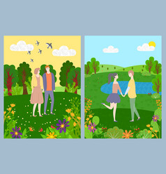 postcard lovers romantic day nature vector image