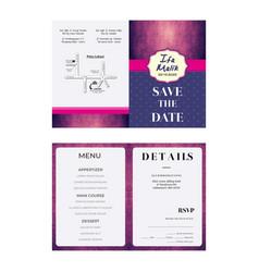 Purple pink wedding invitation template vector