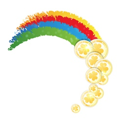 Rainbow and gold coins vector
