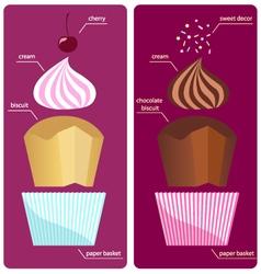 Recipes cream sundae cupcake vector image