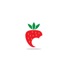 red strawberry fruit logo icon template vector image