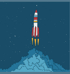 Rocket sketched with clouds vector