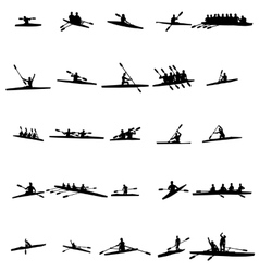 Rowing silhouette set vector