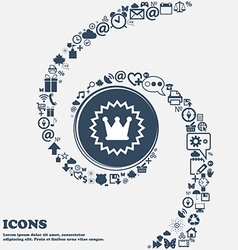 rown sign icon in the center Around the many vector image