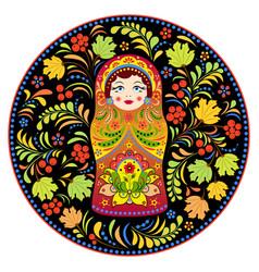 russian doll matryoshka and abstract flowers vector image vector image