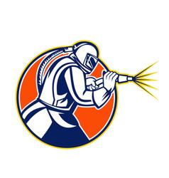 Sandblaster abrasive blasting mascot circle vector