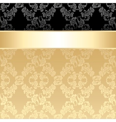 Seamless pattern floral decorative background gold vector