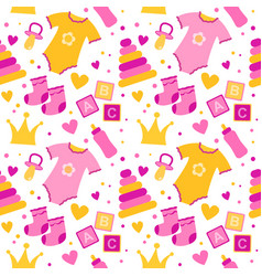 Seamless pattern with baby things birth of a girl vector