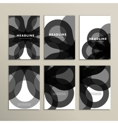 Set abstract dark circle pattern background vector image