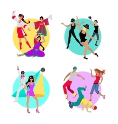 Set Folk Jazz Disco or Electric and Street Dance vector