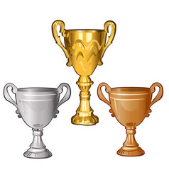 set golden silver and bronze cups isolated on vector image