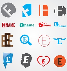 Set of alphabet symbols of letter E vector image