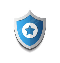 shield with star icon protection and security vector image