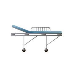 Side steel hospital bed with wheels and blue vector