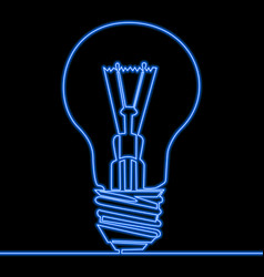 single continuous line blue light neon lamp vector image