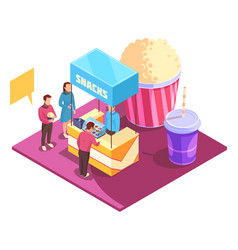 snacks cinema isometric composition vector image