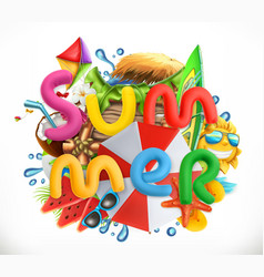 summer holiday set summer beach 3d icon vector image