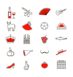 symbol of spain thin line icon set vector image