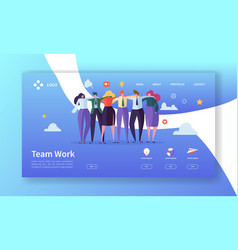 Teamwork landing page template creative process vector